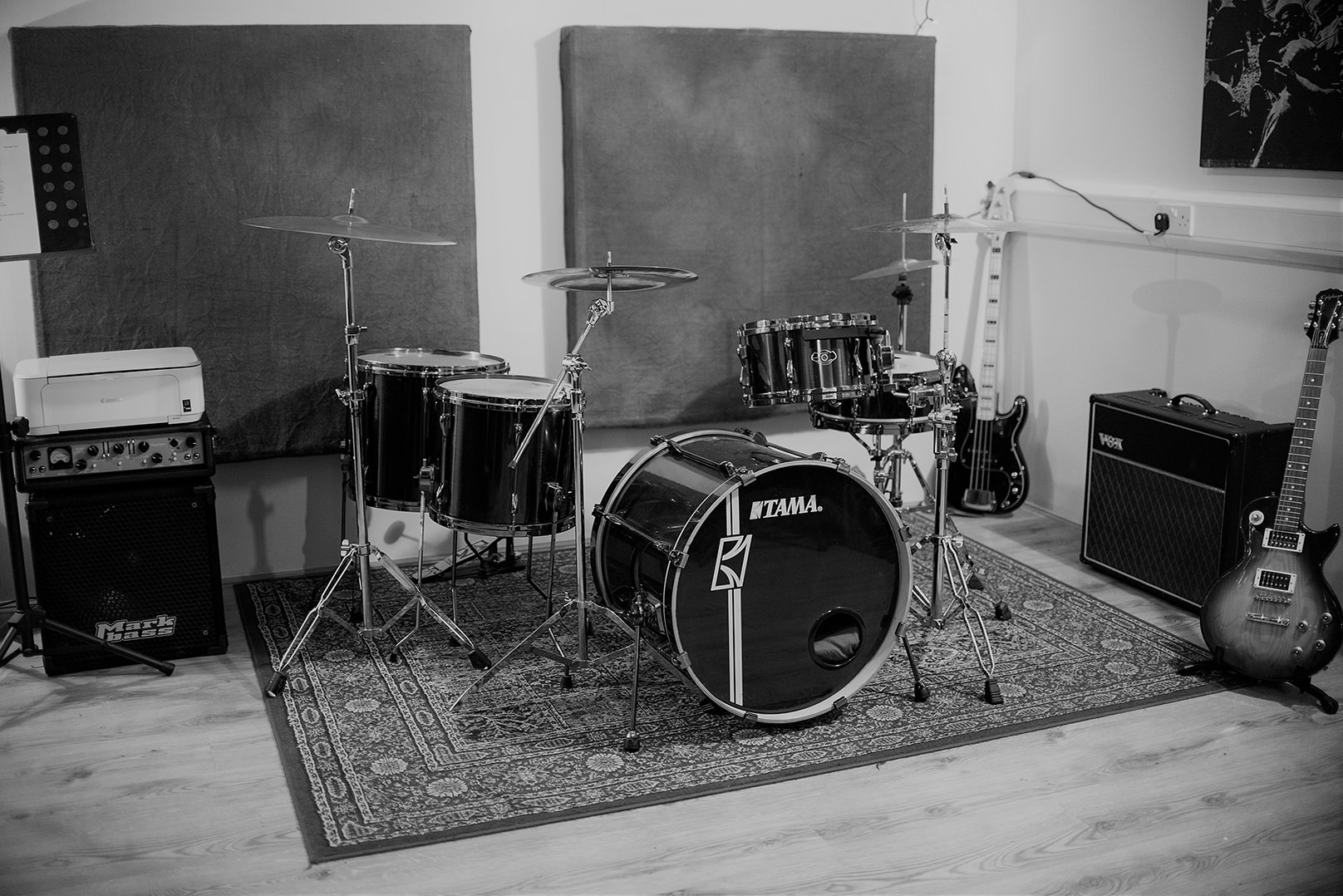 singing wizard studio with drums and guitars